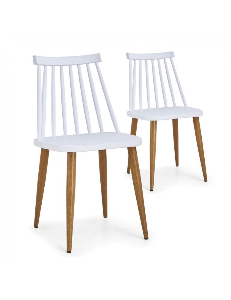 Lot de 2 chaises scandinaves Houlgate Blanc dc1573lot2white