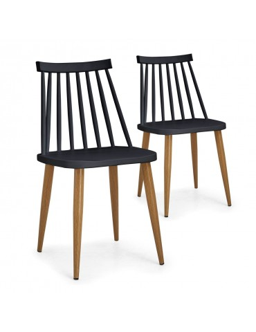 Lot de 2 chaises scandinaves Houlgate Noir dc1573lot2black