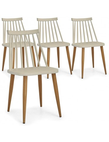 Lot de 4 chaises scandinaves Houlgate Beige dc1573beige