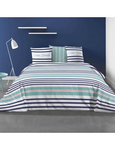 Parure de lit 2 personnes avec housse de couette et 2 taies d'oreiller Ocean Dream Imprimée 260 x 240 3783000503Les Ateliers ...