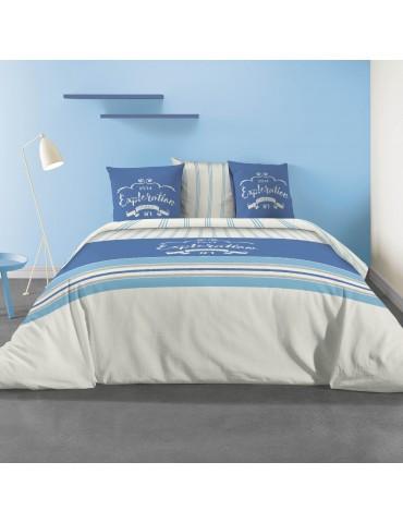 Parure de lit 2 personnes avec housse de couette et 2 taies d'oreiller Exploration Imprimée 240 x 220 3795000503Les Ateliers ...