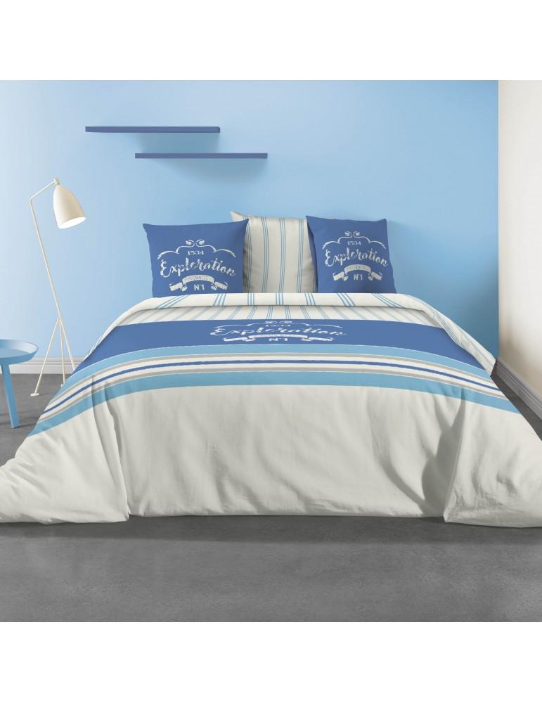 Parure de lit 2 personnes avec housse de couette et 2 taies d'oreiller Exploration Imprimée 260 x 240 3799000503Les Ateliers ...