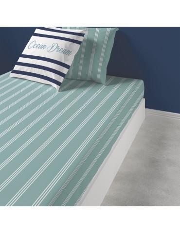 Drap housse Ocean Dream Imprimé 140 x 190 x 25 3807060501Les Ateliers du Linge