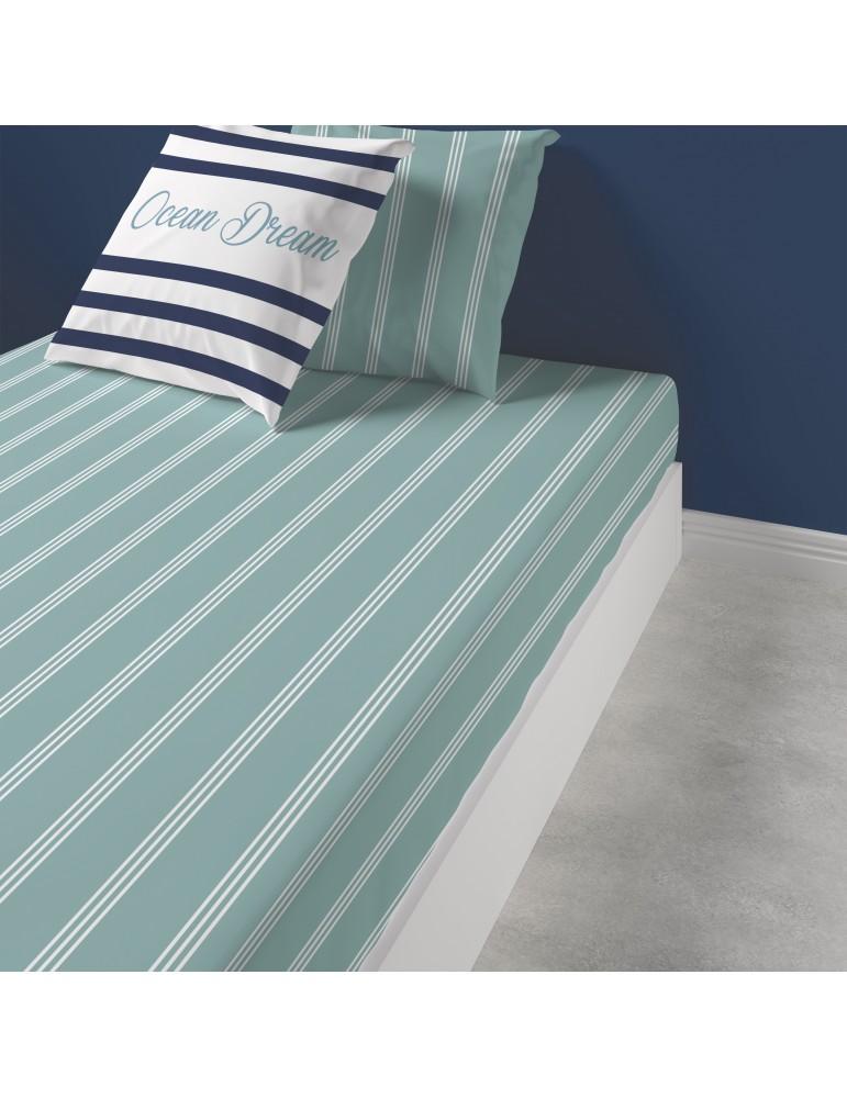 Drap housse Ocean Dream Imprimé 160 x 200 x 25 3809060501Les Ateliers du Linge