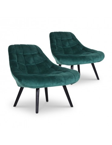 Lot de 2 fauteuils Danios Velours Vert 8927greenvelvet
