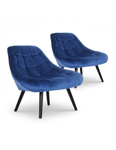 Lot de 2 fauteuils Danios Velours Bleu 8927bluevelvet