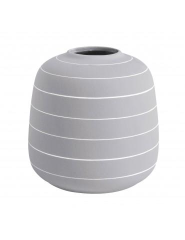 Vase en céramique gris rayure blanche H.16.5cm TERRA DVA4302026Present Time