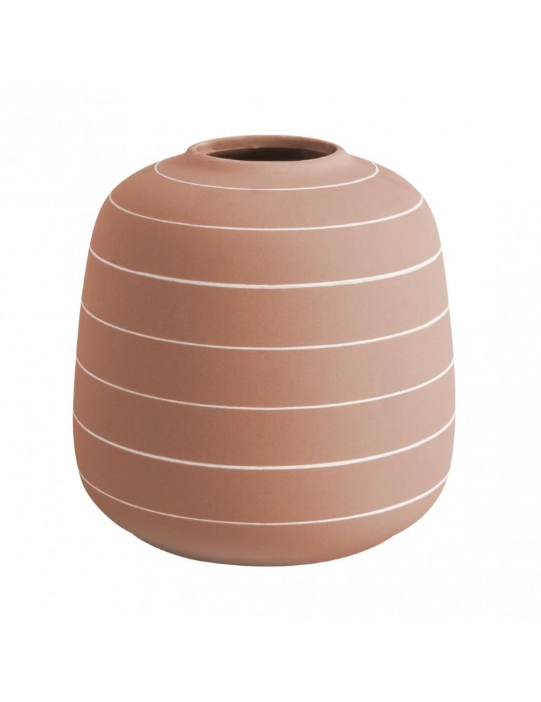 Vase en céramique terracotta rayure blanche H.16.5cm TERRA DVA4302027Present Time