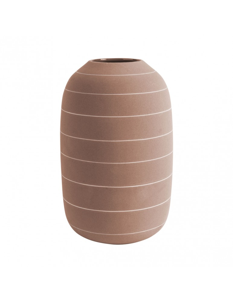 Vase en céramique terracotta rayure blanche H.25cm TERRA DVA4302029Present Time