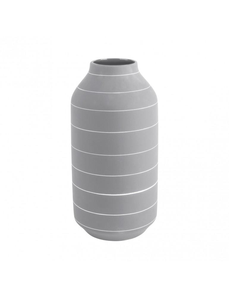 Vase en céramique gris rayure blanche H.30cm TERRA DVA4302030Present Time