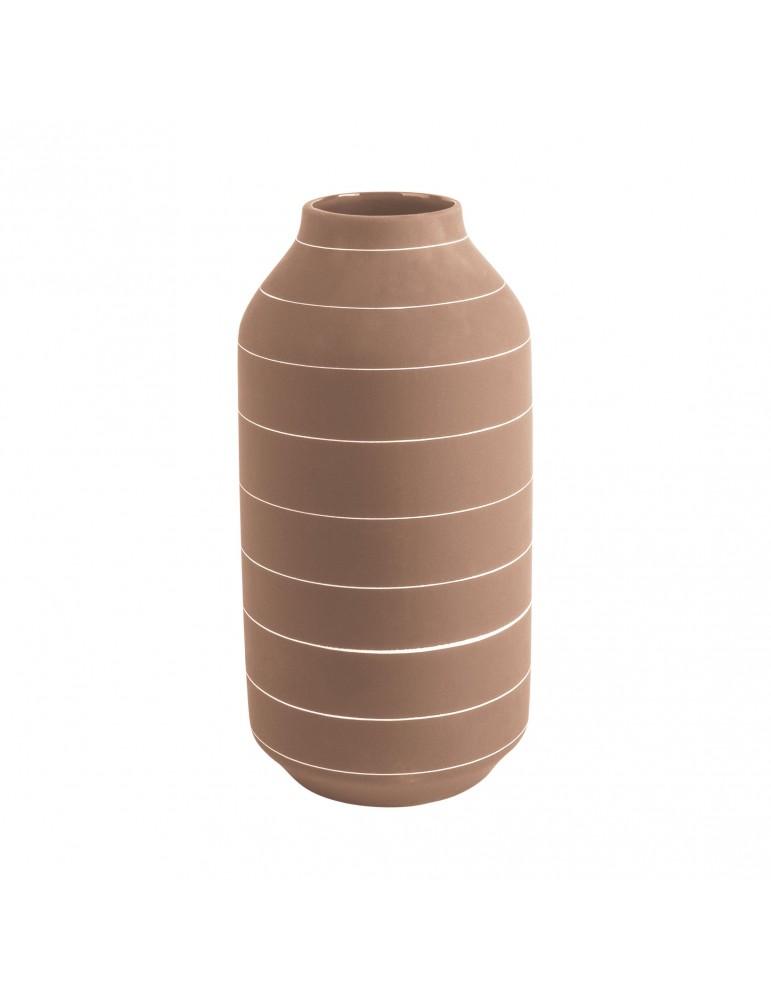 Vase en céramique terracotta rayure blanche H.30cm TERRA DVA4302031Present Time