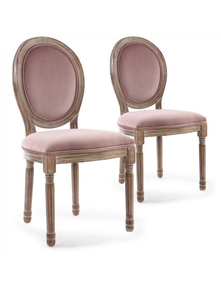 Lot de 2 chaises Louis XVI Bois patiné & velours rose 2601pinkvelevert
