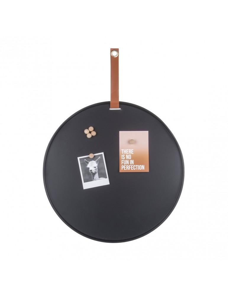 Tableau mémo aimanté rond en fer noir avec sangle D.50cm PERKY DMR4302032Present Time