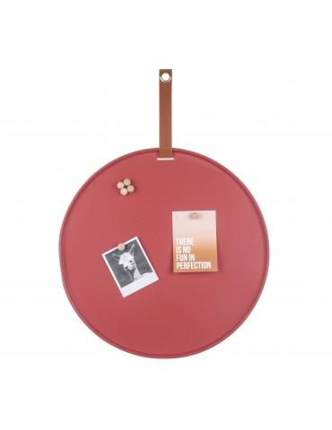 Tableau mémo aimanté rond en fer bordeaux avec sangle D.50cm PERKY DMR4302033Present Time