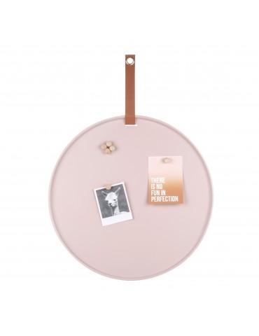 Tableau mémo aimanté rond en fer rose avec sangle D.50cm PERKY DMR4302034Present Time