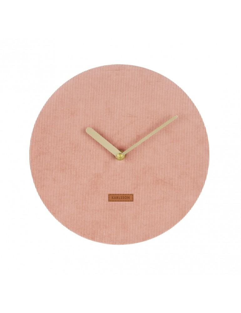 Horloge murale en velours cotelé rose D.25cm LUSH DHO4302002Present Time