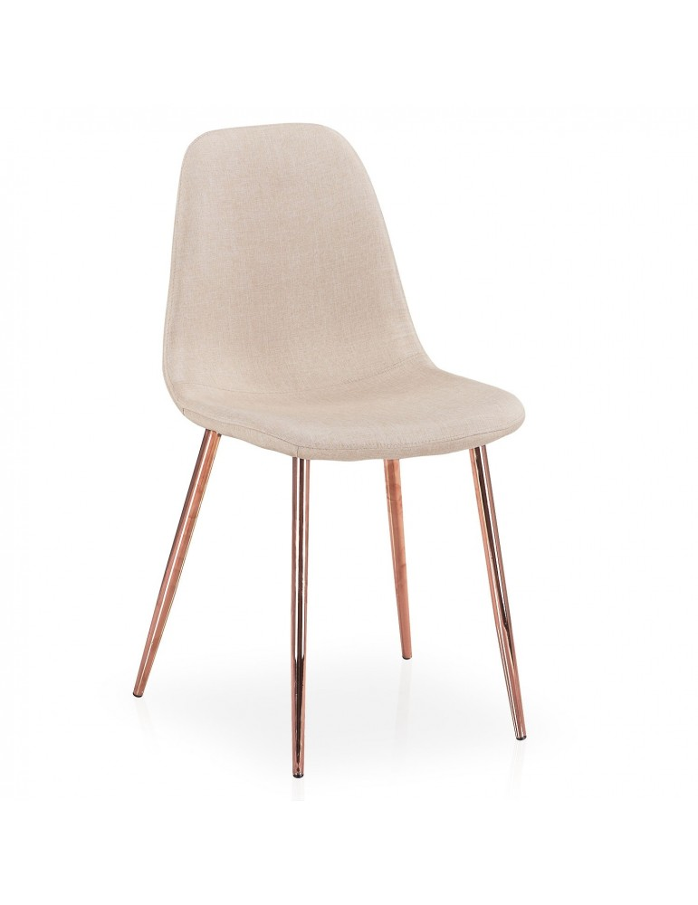 Lot de 4 chaises scandinaves Gao Tissu Beige pieds Or Rose dc5081rbeigefabric