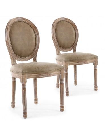 Lot de 2 chaises de style médaillon Louis XVI Bois patiné & simili taupe 2601ksp25002