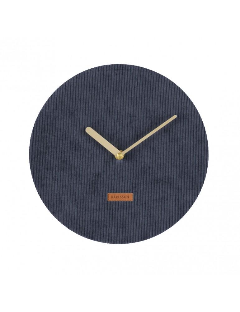 Horloge murale en velours cotelé bleu D.25cm LUSH DHO4302000Present Time