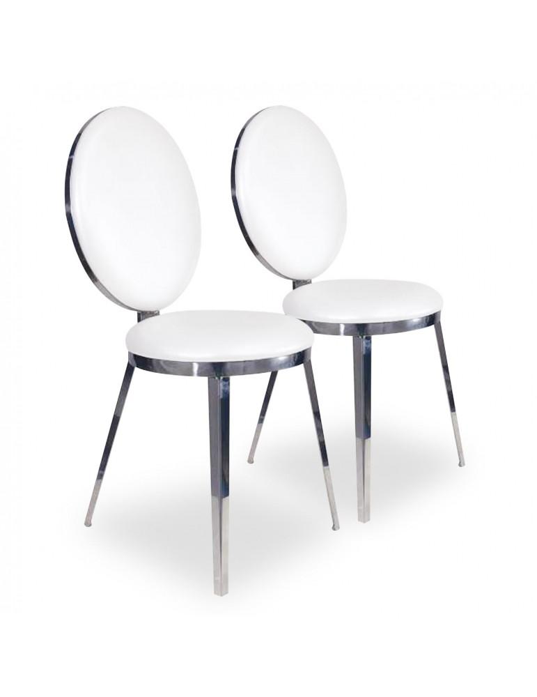 Lot de 2 chaises Orane Métal Argent et Simili Blanc f210silver