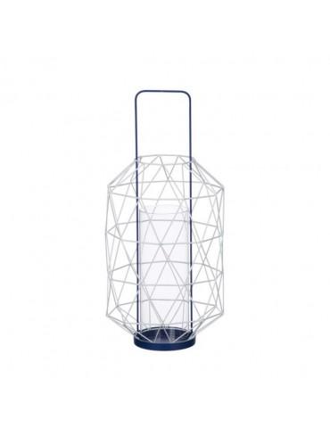 Lanterne ajourée en métal et verre bleu ESPACE DEC3212203