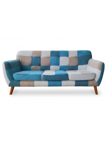 Canapé scandinave 3 places Bombay Multicolore Bleu hm1826multicolorblue
