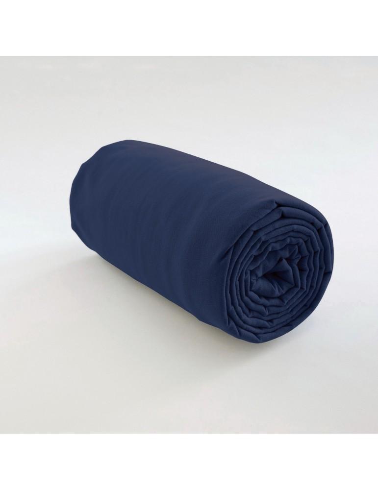 Drap housse uni Coton Bleu 140 x 190 x 35 4564060501Les Ateliers du Linge