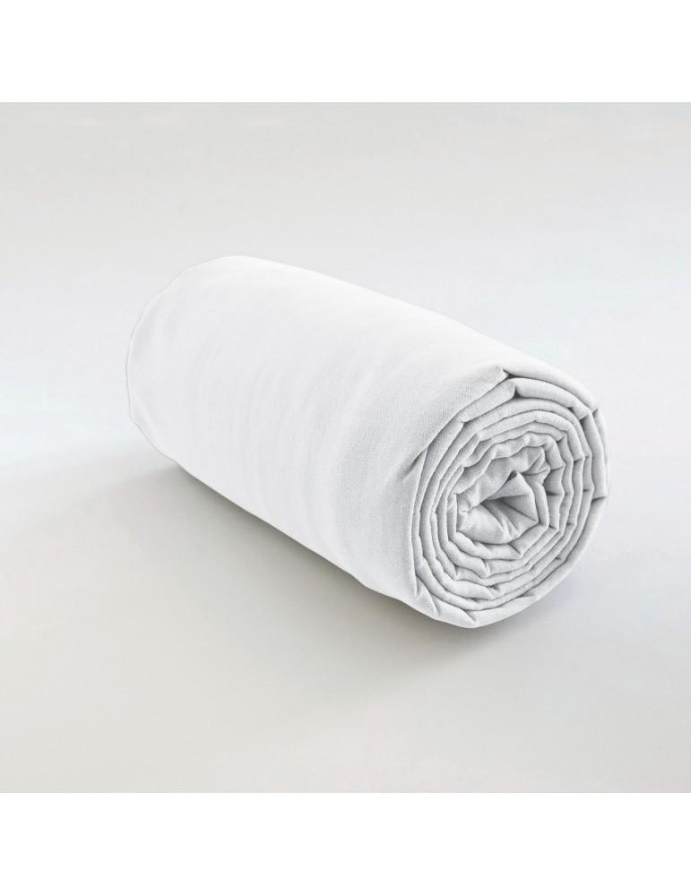 Drap housse uni Coton Blanc 160 x 200 x 35 4565010501Les Ateliers du Linge