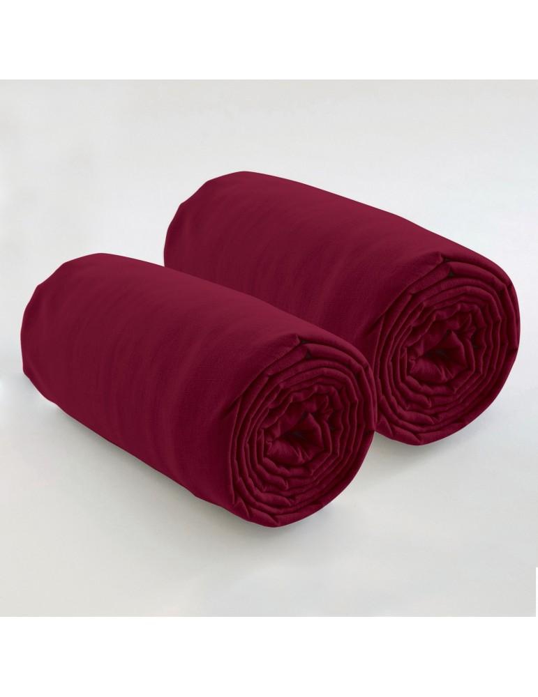 Double drap housse spécial matelas double uni Coton Grenat 80 x 200 x 35 4572033501Les Ateliers du Linge