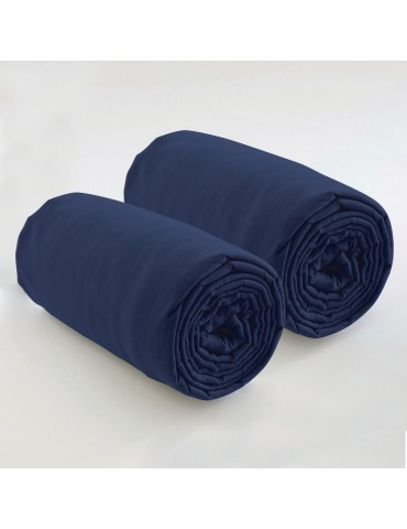 Double drap housse spécial matelas double uni Coton Bleu 80 x 200 x 35 4572060501Les Ateliers du Linge