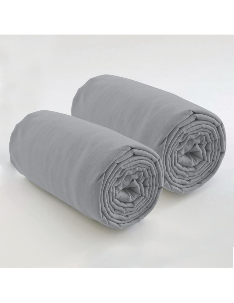 Double drap housse spécial matelas double uni Coton Gris clair 80 x 200 x 35 4572070501Les Ateliers du Linge
