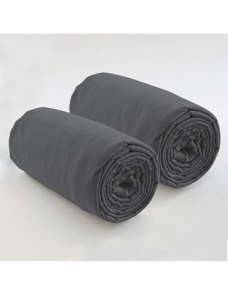 Double drap housse spécial matelas double uni Coton Gris foncé 80 x 200 x 35 4572075501Les Ateliers du Linge