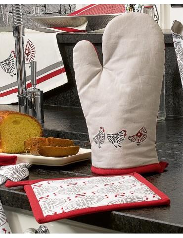 Gant de cuisine + Manique Ginger Rouge 7893036602Les Ateliers du Linge