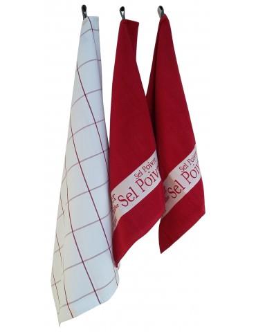 2 essuie-mains + 1 torchon Sel&Poivre Rouge 50 x 70 8201091103Winkler