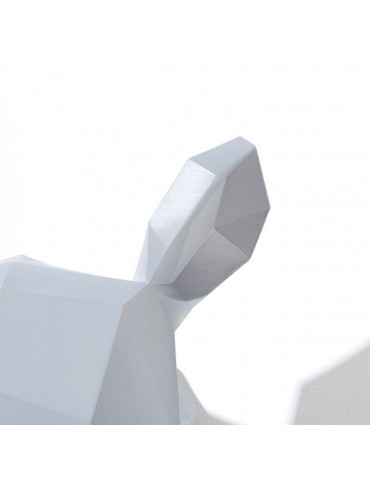 Trophée tête de rhinocéros en résine gris/blanc façon origami DMR4122009Delamaison