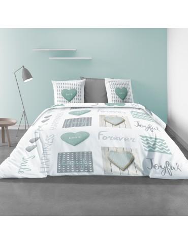 Parure de lit 2 personnes avec housse de couette et 2 taies d'oreiller Love Imprimé 260 x 240 5501000503Les Ateliers du Linge