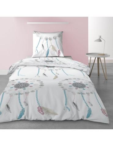 Parure de lit 1 personne avec housse de couette et 1 taie d'oreiller Dreamy Imprimé 140 x 200 5524000502Les Ateliers du Linge