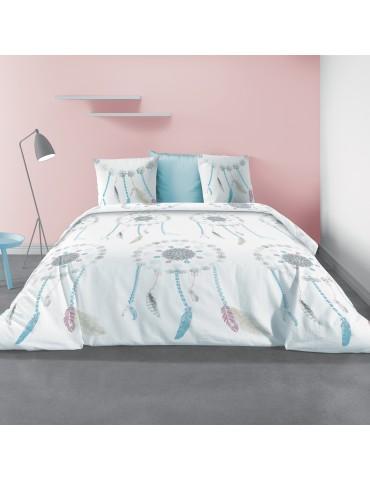 Parure de lit 2 personnes avec housse de couette et 2 taies d'oreiller Dreamy Imprimé 240 x 220 5528000503Les Ateliers du Linge