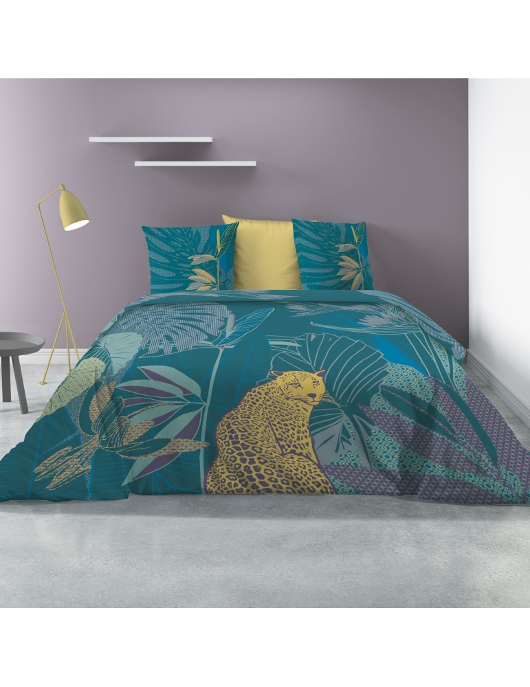 Parure de lit 2 personnes avec housse de couette et 2 taies d'oreiller Wayapi Imprimé 260 x 240 5445000503Les Ateliers du Linge