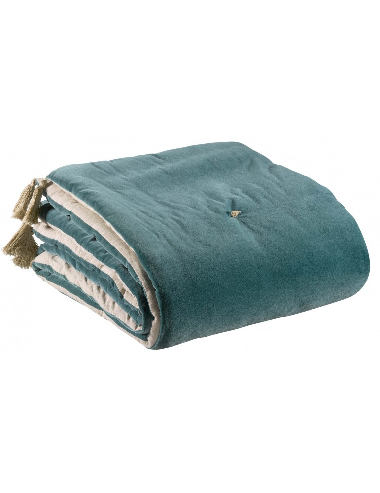 Edredon pompons Elise Vert de gris 80 x 180 5592020000Vivaraise