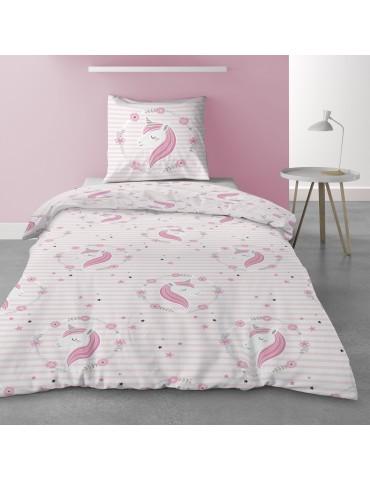 Parure de lit 1 personne avec housse de couette et 1 taie d'oreiller Rina Imprimé 140 x 200 5570000502Les Ateliers du Linge
