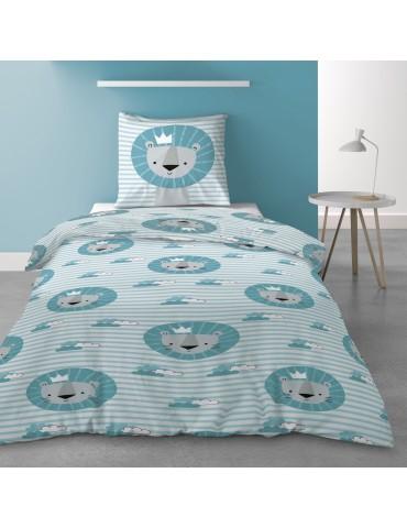 Parure de lit 1 personne avec housse de couette et 1 taie d'oreiller Dicky Imprimé 140 x 200 5571000502Les Ateliers du Linge