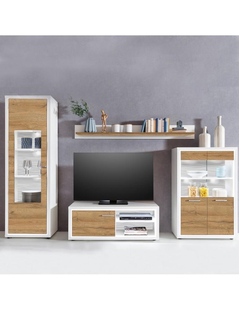 Ensemble meuble TV Saragosse Bois Chêne Clair et Blanc lumière incluse light2vc02