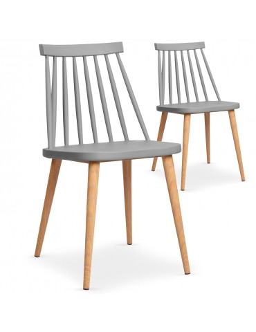 Lot de 2 chaises scandinaves Trouville Gris 8311agrey