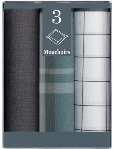 Boîte de 3 Mouchoirs Diffusion Homme Bruno Gris 43 x 43 6304070803Winkler