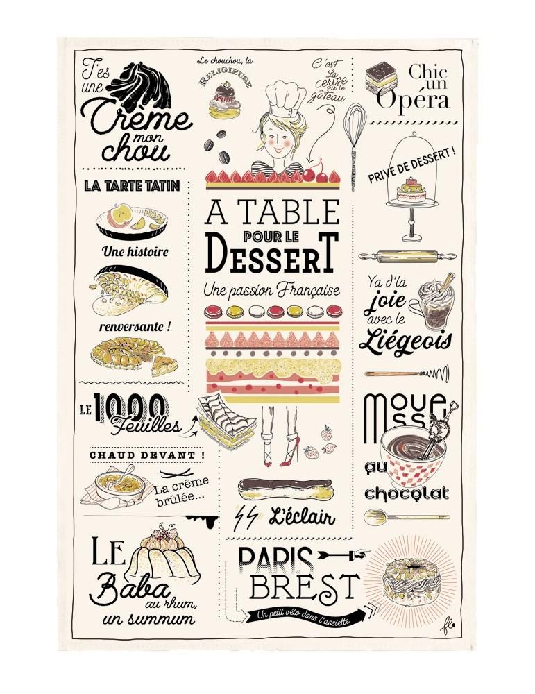 Torchon Les desserts français Ecru 48 x 72 5200010000Winkler