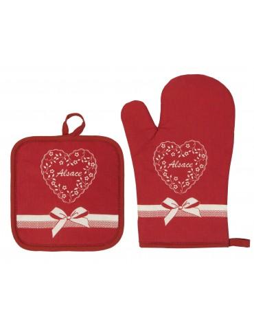 Lot Gant de cuisine/Manique Fleuri Coeur Rouge 18 x 28 6716030102Winkler