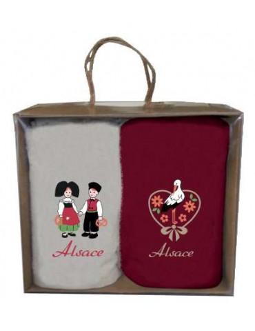 Boîte de 2 essuie-mains Brodés Alsace Assortis 30 x 50 7485000102Winkler