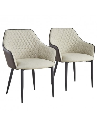 Lot de 2 Chaises/Fauteuils Louisa Beige et Marron dc153beigebrown