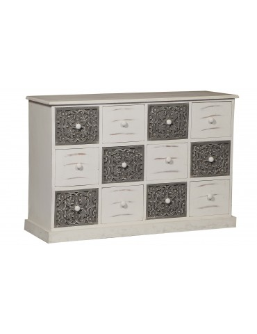 Commode 12 Tiroirs Changmay Bois Gris Et Blanc g38042